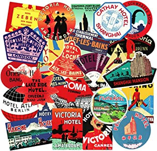 Honch Vintage Hotel Stickers Pack 56 Pcs Retro Travel Suitcase Stickers Vinyl Decals for Suitcase Laptop Car Luggages