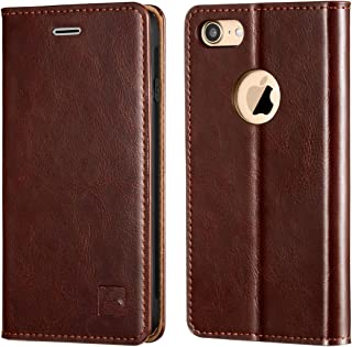 Belemay iPhone 7 Wallet Case, iPhone 7 Case, [Slim Fit] Genuine Cowhide Leather Flip Case Folio Cover [Durable Soft Inner Case] Card Holder Slots, Kickstand, Cash Pocket Compatible iPhone 7, Brown