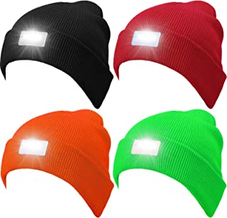 Syhood 4 Pieces Unisex 5 Led Knitted Flashlight Beanie Cap Winter Knit Warm Headlamp Hat for Hunting, Camping, Grilling, A...