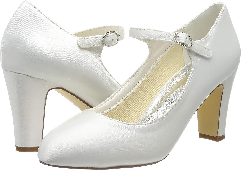 Mrs White 3421-5 Chaussures de Mari/ée Pour Femmes Bout Ferm/é 7.5cm pouces Escarpins en Satin /à Talons /épais Chaussures de Mariage