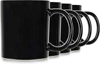 Serami 19oz Black Large Classic Mugs for Coffee or Tea. Large Handle and Heavy Duty Construction, Set of 4