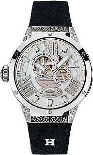 Haemmer - Reloj de pulsera para mujer de acero inoxidable exclusivo con correa de piel de nobuk de ternero y carcasa de acero inoxidable con 112 cristales resistente a los arañazos.