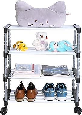 FLIPZON Premium 4 Shelve Metal, Plastic Smart Shoe Rack/Multipurpose Storage Rack with Wheels