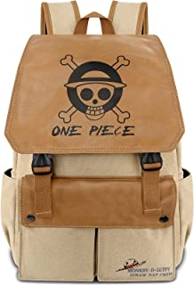 Roffatide Anime One Piece Luffy Straw Hat Pirates Backpack Canvas Schoolbag Laptop Backpack Printed Flap Rucksack Daypack ...