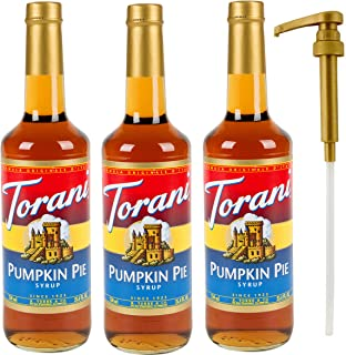 Torani Pumpkin Pie flavor Syrup, 25.4 Ounce (3 Pack) Plus 1 Syrup Pump
