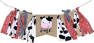 Silvima Farm ONE High Chair Banner for First Birthday, Barnyard Cow 1st Birthday Party Highchair Decoration