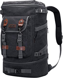 WITZMAN Travel Backpack for Men Women Canvas Backpack Carry on Luggage Rucksack Convertible Duffel Bag Large (A568 Black)