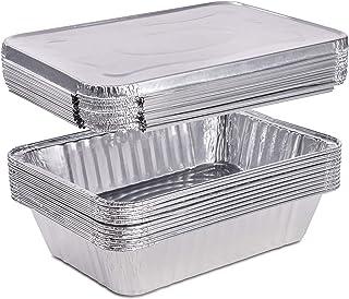 (20 Count) 2.25 Pounds Disposable Aluminum Foil Pans with Lids | Oblong Cookware Pans Best Use for Baking, Meal Preparatio...