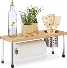 Relaxdays mutfak rafı, tezgah için, rulo mutfak ve çatal bıçak sepeti, baharat rafı, bambu ve paslanmaz çelik, doğal/gümüş