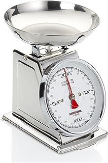 GASTROBACK 30102 Classic Waage, 2 kg mit Tara-Funktion, Küchenwaage, analog, mit Wiegeschale, poliert, Edelstahl Silber