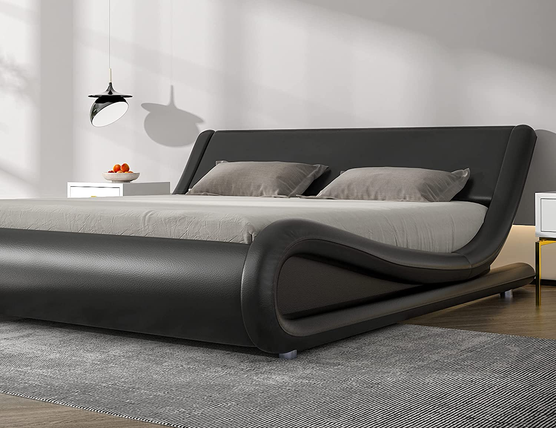 SHA CERLIN King Size Bed Frame, Upholstered Faux Leather Low Profile Sleigh Platform Bed with Adjustable Headboard, Wood Slat Support, Black