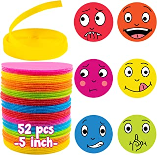 Indiviney Carpet Markers for Classroom | 52 Pcs 5 Inch Pack Sit Dots with Emoticons and Blank Pack | Multicolor Circles Sh...