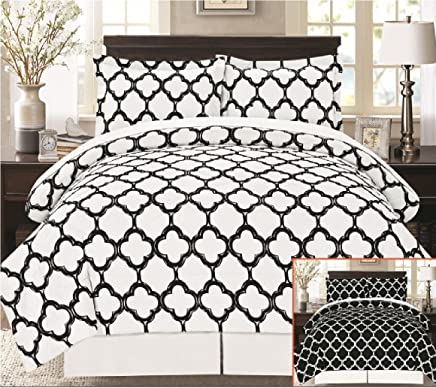 Livingston Home Supper Soft 8 Piece Bed in a Bag Fretwork Comforter Set, Black/White, Queen