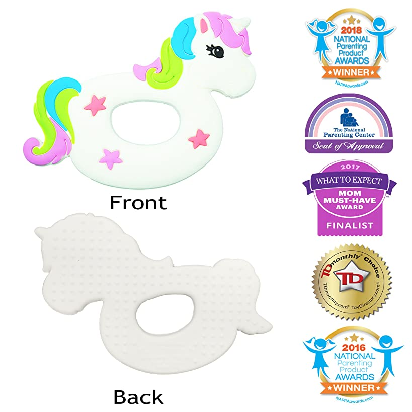 Silli Chews Unicorn Toy Fun Baby Teething Teether Toddler Animal Gift for Girls Easy Grip Lightweight Magic Pony Rainbow Flying Horse Twilight Sparkle White Pink Popular Toys Natural Silicone