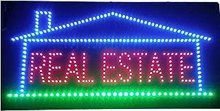 Placa de publicidad LED con luz de inmobiliaria abierta, superbrillante, para Broker Realtor Propiedades de negocios, tienda, ventana, hogar, dormitorio, decoración de 24 x 12 pulgadas