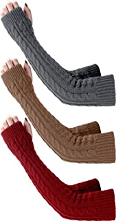 3 Pairs Arm Warmers Winter Long Fingerless Gloves Knit Wrist Warmers with Thumb Hole for Women Girls