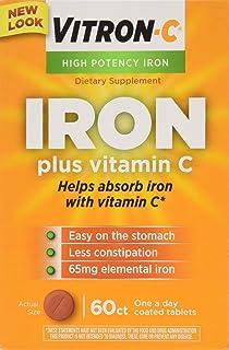 VITRON-C High Potency Iron Plus Vitamin C Tablets - 60 Ea - 3 pack