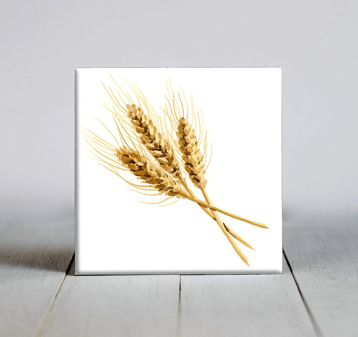 Wheat Watercolor Art Decorative Clearance SALE! Limited time! 4.25 Tile X Fort Worth Mall Framed