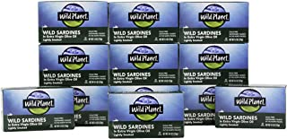 Wild Planet Wild Sardines in Extra Virgin Olive Oil, Lightly Smoked, Keto and Paleo, 4.4..
