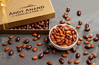 Andy Anand's Chocolates- Premium California Almonds covered with Gourmet Dark Chocolate in Gift Basket & A Card, All-Natural and certified Made from Natural Ingredients (2 lbs)