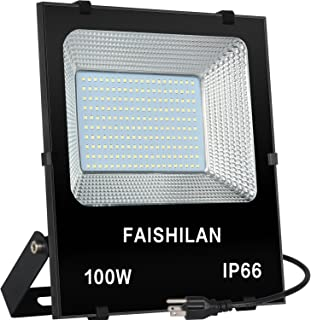 FAISHLAN 100W LED Flood Lights, Outdoor Led Work Light, Waterproof IP66 Outdoor Flood Lights, Super Bright LED Backyard Lights for Garage, Garden, Lawn and Yard