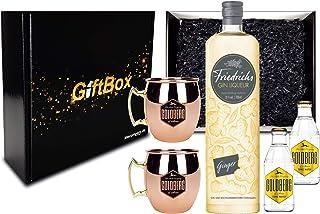 Gin Tonic Giftbox Geschenkset - Friedrichs Gin Liqueur Ginger 0,7l 700ml 31% Vol  2x Mule Becher  2x Goldberg Tonic Water 0,2l MEHRWEG inkl. Pfand Gin Tonic Bar- Enthält Sulfite