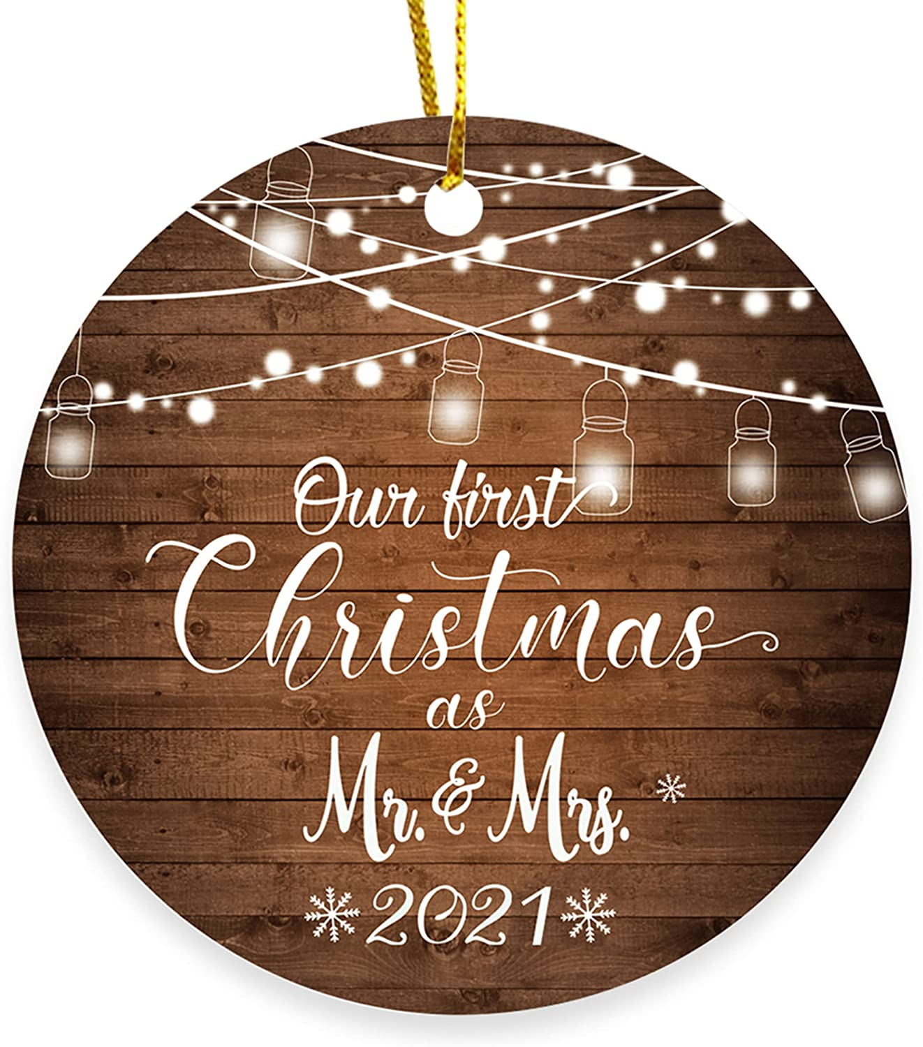 Our First Christmas Married Ornament 2021 Personalized Mr and Mrs Wedding Gifts for Couple Unique Funny Decorations Decor Set for Home