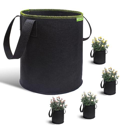 KORAM 5 Pack 8 Gallon Garden Grow Bags Soft Sided Fabric Plant Pots Aeration