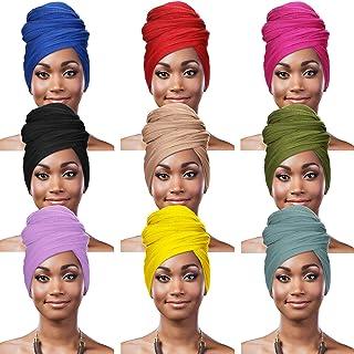 9 قطع أغطية الرأس القابلة للتمدد في 9 ألوان وشاح للنساء الأفريقية عمامة وشاح شعر طويل ناعم ربطة رأس أوشحة للنساء
