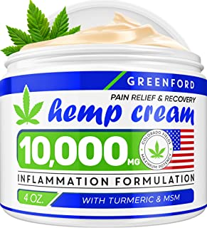 Pain Relief Hemp Cream 10,000mg | 4oz - Hemp Extract Cream for Inflammation & Sore Muscles - Natural Joint, Arthritis & Back Pain Support - Made in USA - Arnica, MSM, Turmeric - Best for Skin Health