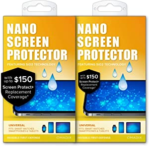 QMADIX $150 Replacement Guarantee 2 Pack- Invisible Nano Liquid Glass Screen Protector [Scratch Resistant] for all iPhone, iPad, Apple Watch, Samsung phones - Extreme Liquid Glass Protection
