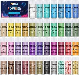 MOSUO Pigments Poudre de Mica, 5g*40 Couleurs Colorant de Savon, Pigment Resine Epoxy Pailletées Naturel Minerale pour Bou...