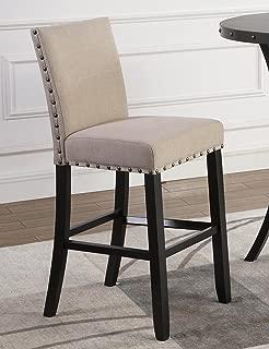 Roundhill Furniture Biony Fabric Bar Stools with Nailhead Trim (Set of 2), Tan