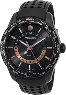 Movado Men's 2600118 Series 800 Black PVD Case with Black Leather Band