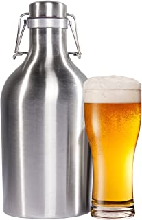 Stainless Steel Beer Growler - 64 Oz. Bottle with Secure Swing Top Lid for Freshness - Best Quality Growlers - Food Safe - Plastic Free