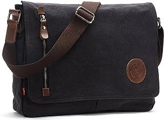 AIBAG Messenger Bag, Canvas Crossbody Bag for Women and Men (Black)