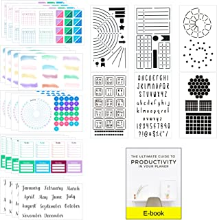 Ultimate Productivity Stencils & Stickers - x20 Sheets of Planner Stickers, x6 Stencils - Calendars, To Do Lists, Habit Tr...