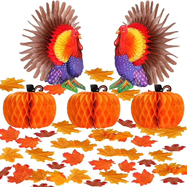 Boao 155 Pieces Thanksgiving Decorations Accessories Including 2 Pieces Honeycomb Turkey 3 Pieces Honeycomb Pumpkin 150 Pieces Artificial Maple Leaves For Thanksgiving Party Decorations
