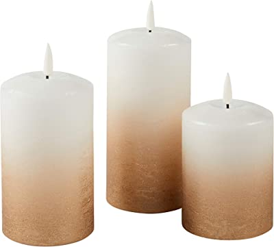 Lights4fun, Inc. Set of 3 TruGlow Bronze Ombre Wax Flameless LED Battery Operated Pillar Candles with Remote Control