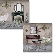 Gango Home Decor's Bathroom Collection - Gray, Brown and Black French Vanity Mirror and Powder Room Art by Greg Gorham; 2-12x12