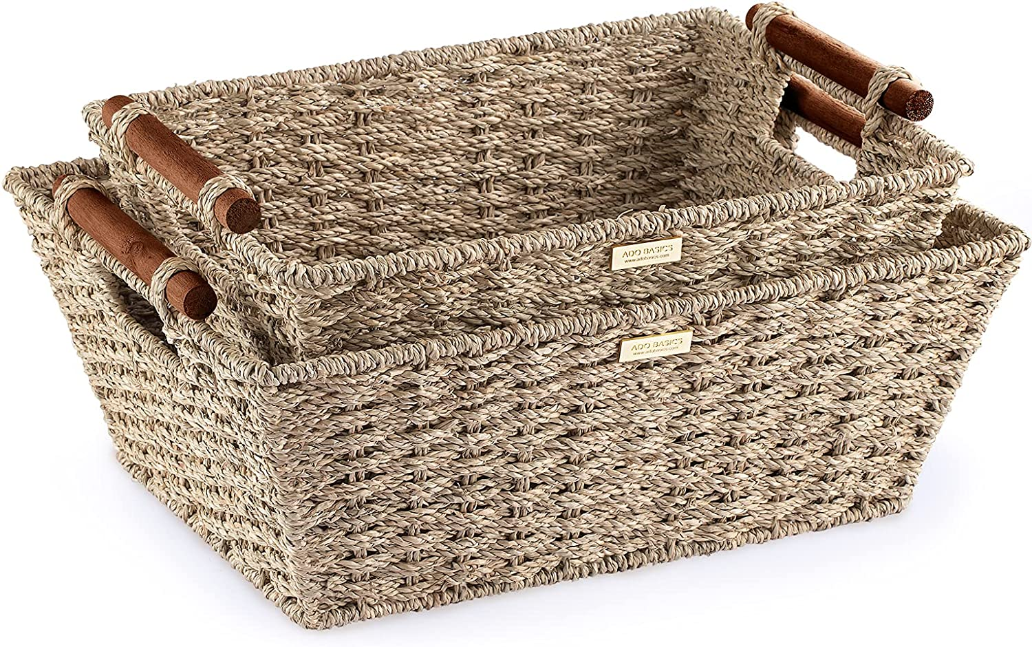 ADO Jumbo Seagrass Storage Super sale Basket Ha New products, world's highest quality popular! Stain Resistant with Wooden