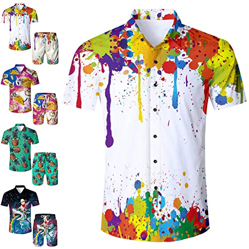 1ebf5407 RAISEVERN Men's Tropical Hawaiian Shirt/Shorts Casual Button Down Short  Sleeve Shirt/Swim Trunks
