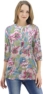 BENANCY Women's Floral 3/4 Sleeve Shirts Henley V Neck Button Down Tunic Top