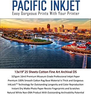 $59 » (13-x-19) 25 Sheets 100% Cotton Fine Art Matte Double Sided Inkjet Paper - 16mil 325gsm See Description for Compatibility ...