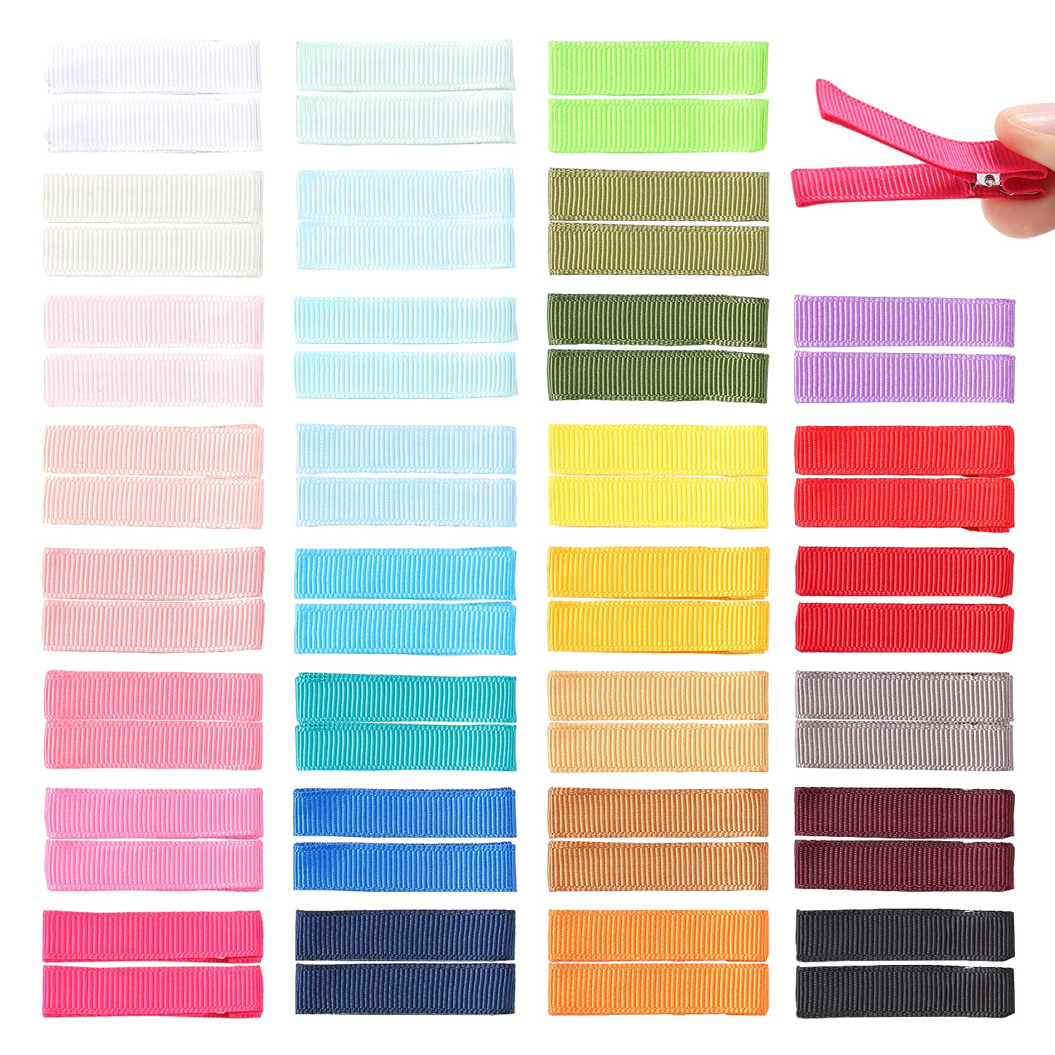 Cinaci 60 Pack/30 Pairs 5 CM 2 Inch Solid Plain Grosgrain Ribbon Cloth Fabric Covered Fully Lined DIY Metal Alligator Hair Clips Duckbill Barrettes Accessories for Baby Girls Toddlers Kids Teens