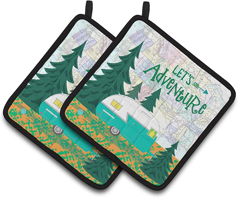 Caroline S Treasures Let S Adventure Glamping Trailer Pair Of Pot Holders VHA3003PTHD 7 5HX7 5W Multicolor