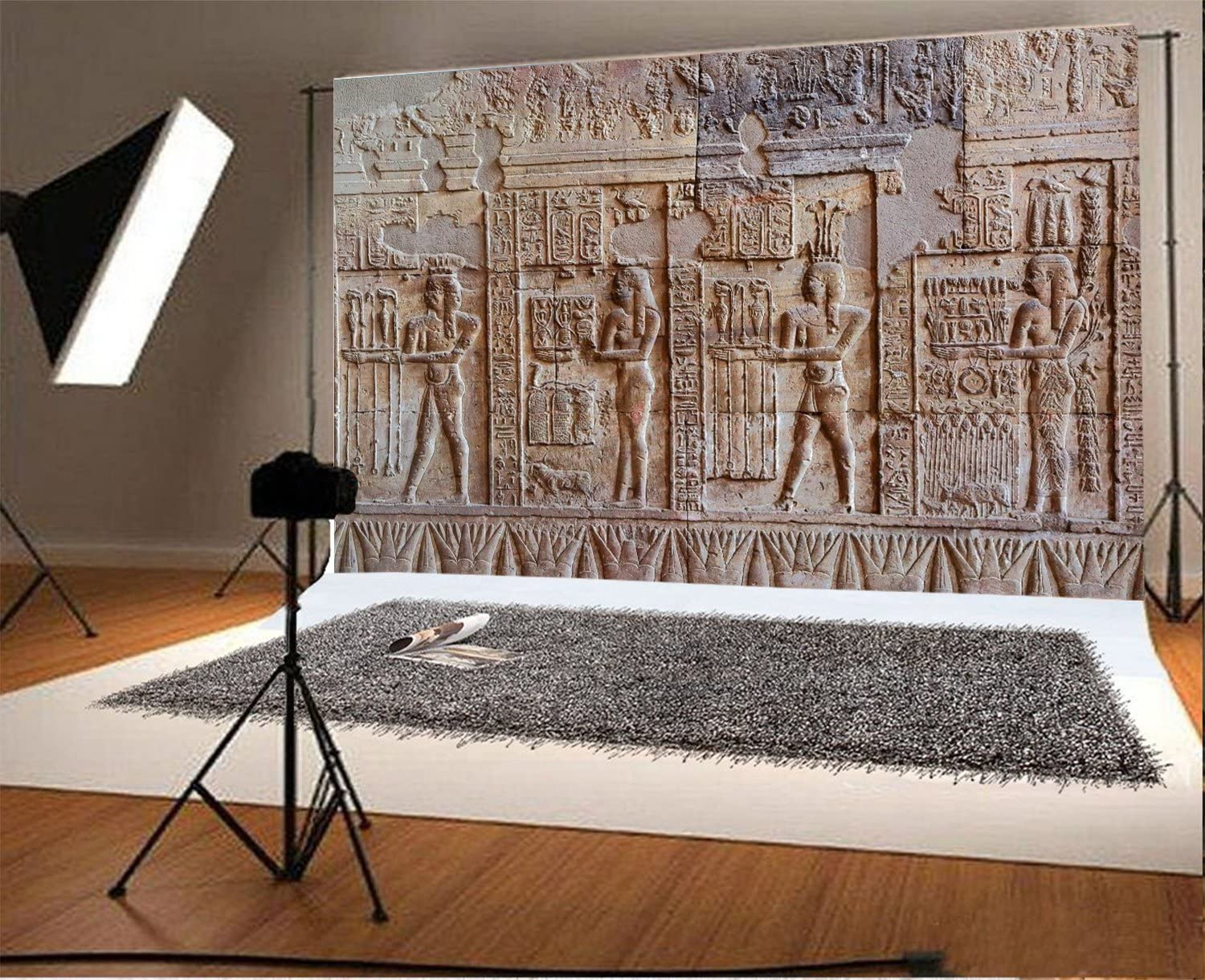 Laeacco 7x5FT Vinyl Backdrop Photography Background Egypt Mural Ancient Exterior Wall Stone Hieroglyphic Carvings Egyptian Pharaoh Portrait Art Shooting Background Photo Studio Props