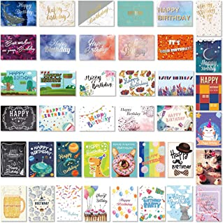 PartyKindom Birthday Cards Assortment 40 Different Designs - Happy Birthday Card with 4 Gold Foil 9 Silver Foil Cards and 27 Colorful Birthday Cards Bulk for Women Men Kids Blank Cards with Envelopes
