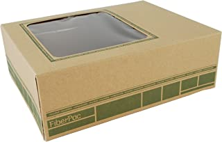 """Southern Champion Tray 2449 FiberPac Kraft Fiberboard Catering Window Lunch Box, 9-1/4"""" Length x 7-3/8"""" Width x 3-1/8"""" Height (Case of 200)"""