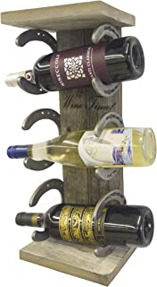 GetEm Innovations Rustic Barnwood Wine Rack - Wall Mounted (Horseshoes)